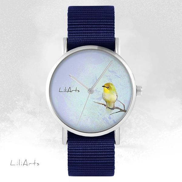 LiliArts watch - Yellow bird - navy blue, nato