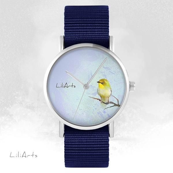Zegarek LiliArts - Żółty ptaszek - granatowy, nato