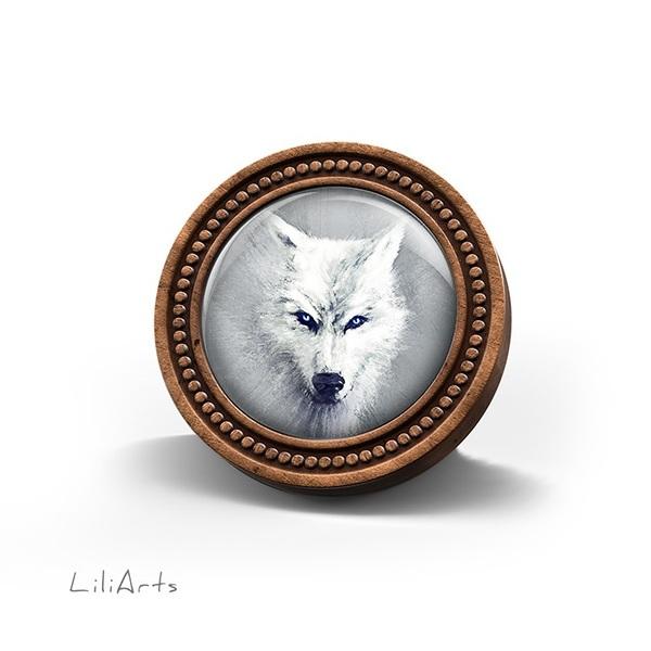 Broszka drewniana LiliArts - Biały wilk