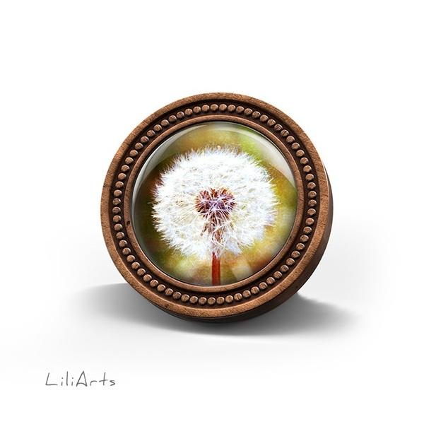 Broszka drewniana LiliArts - Dmuchawiec