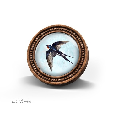 LiliArts wooden brooch - Swallow
