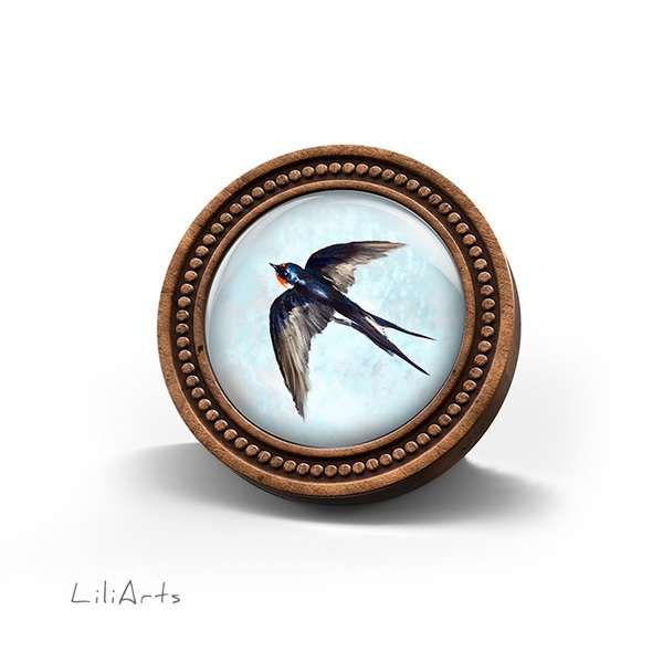 Broszka drewniana LiliArts - Jaskółka