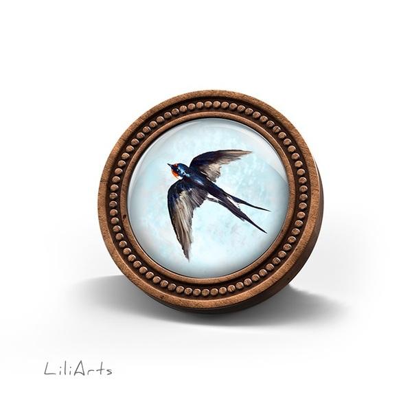 LiliArts wooden brooch - Swallow