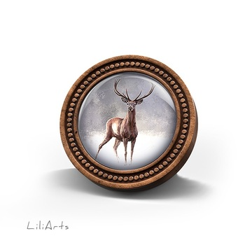 LiliArts wooden brooch - Deer 2