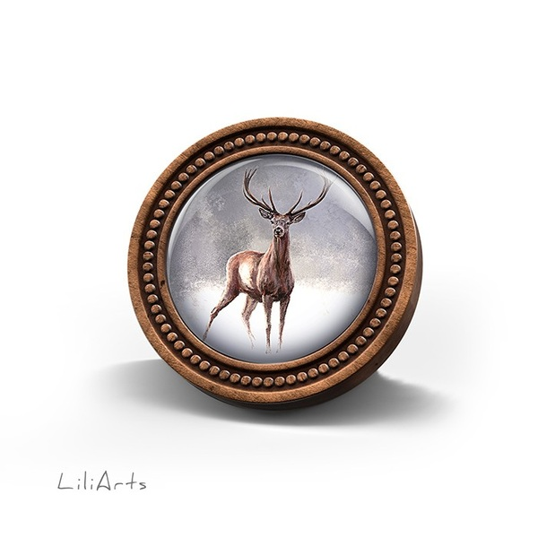 Broszka drewniana LiliArts - Jeleń 2