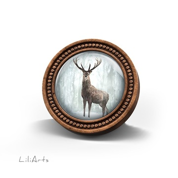 Wooden LiliArts brooch -...