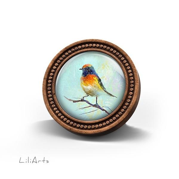 Broszka drewniana LiliArts - Kolorowy ptaszek