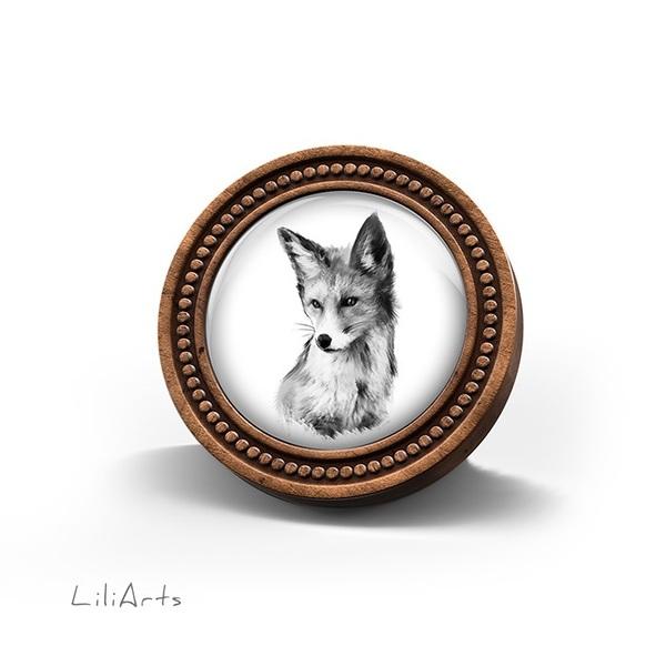 Broszka drewniana LiliArts - Lis - Into the wild