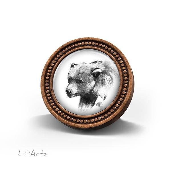 Broszka drewniana LiliArts - Niedźwiedź - Into the wild