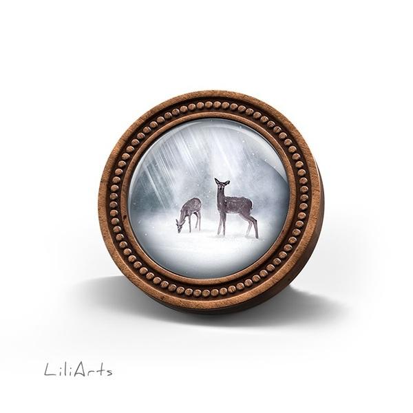 Wooden LiliArts brooch - Roe deer