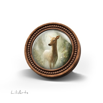 LiliArts wooden brooch - Roe deer in the forest