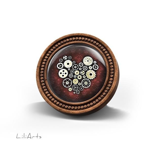 LiliArts wooden brooch - Steampunk heart