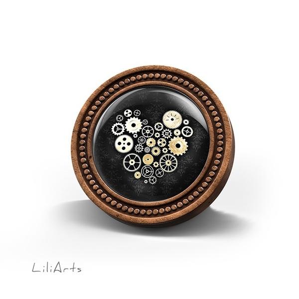 Broszka drewniana LiliArts - Serce steampunk czarne
