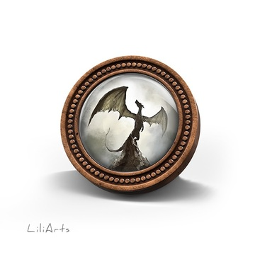 LiliArts wooden brooch - Shadow dragon