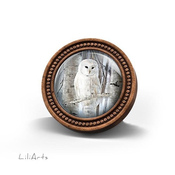 Broszka drewniana LiliArts - Sowa