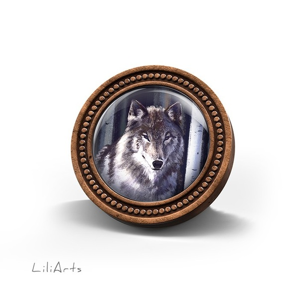LiliArts wooden brooch - Gray wolf