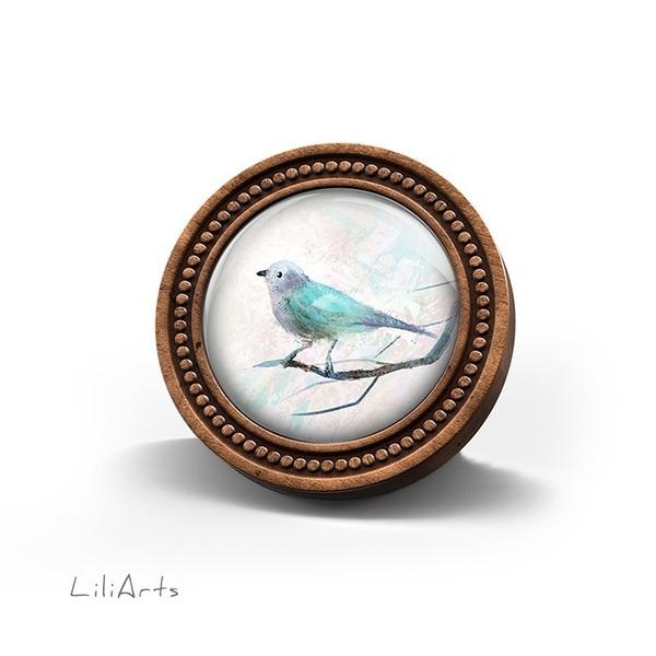 Broszka drewniana LiliArts - Turkusowy ptaszek