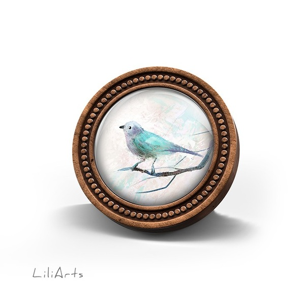 LiliArts wooden brooch - Turquoise bird