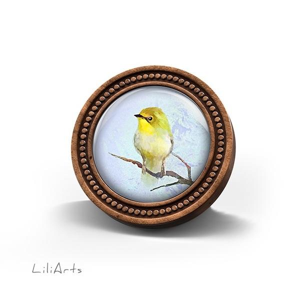 Broszka drewniana LiliArts - Żółty ptaszek