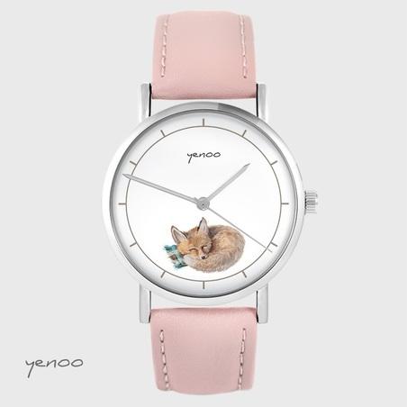 Yenoo watch - Fox - powder pink, leather