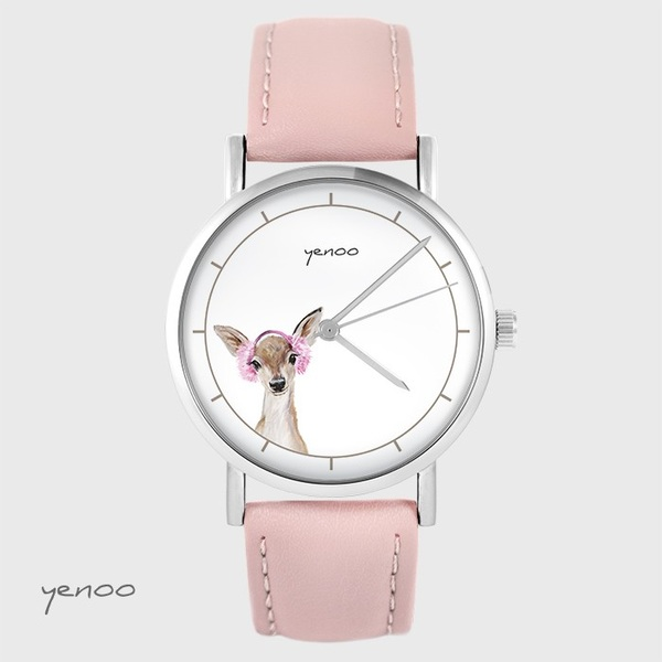 Zegarek yenoo - Sarenka - pudrowy róż, skórzany