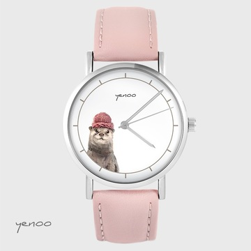 Yenoo watch - Otter - powder pink, leather