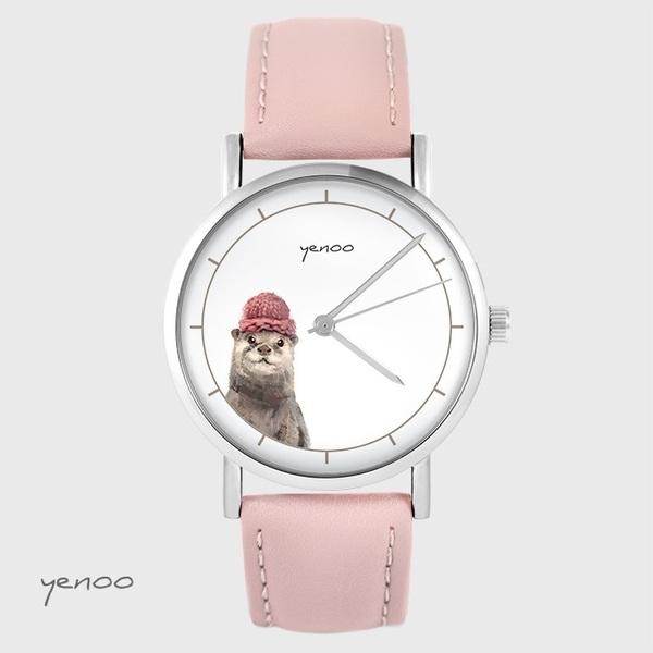 Zegarek yenoo - Wydra - pudrowy róż, skórzany