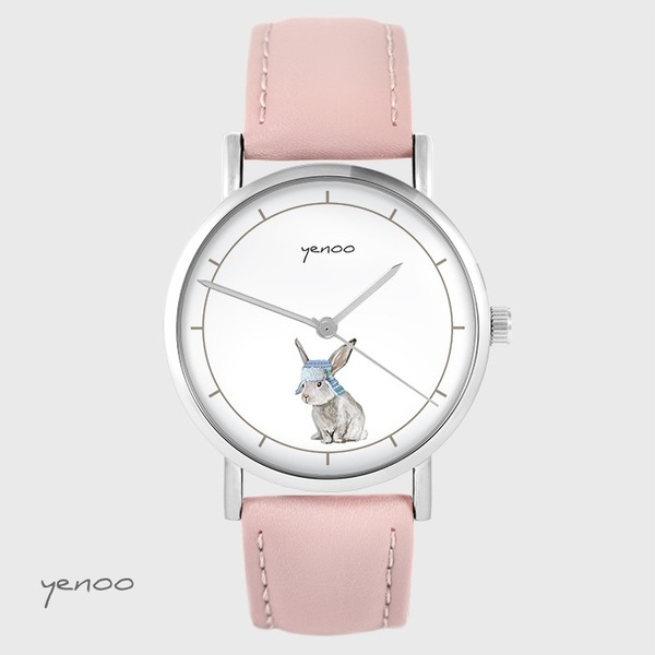 Zegarek yenoo - Zając - pudrowy róż, skórzany