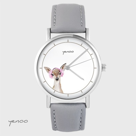 Yenoo watch - Roe-deer - gray, leather