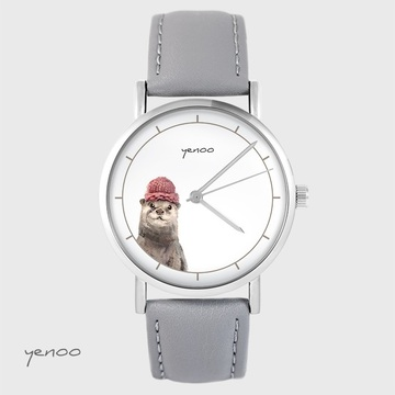 Yenoo watch - Otter - gray, leather