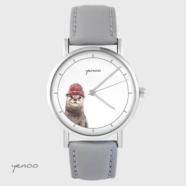Zegarek yenoo - Wydra - szary, skórzany