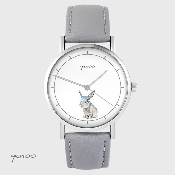 Yenoo watch - Hare - gray, leather