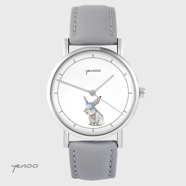 Zegarek yenoo - Zając - szary, skórzany