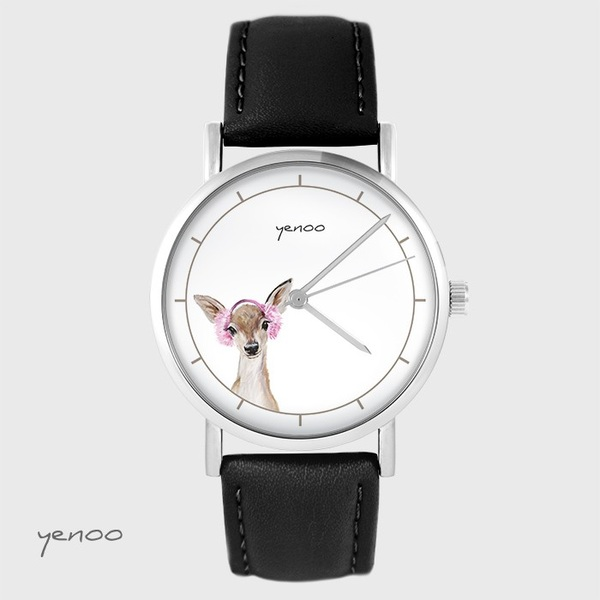 Yenoo watch - Roe-deer - black, leather
