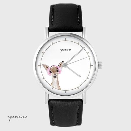 Yenoo watch - Roe-deer - black, leather
