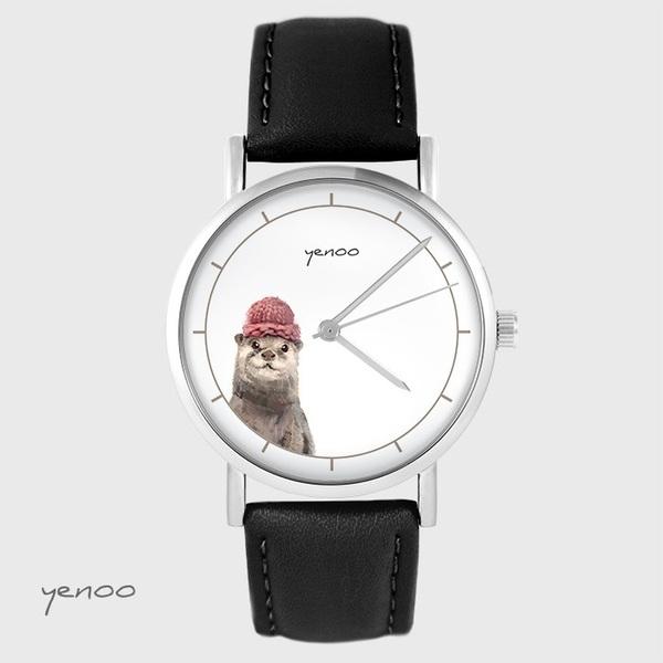 Zegarek yenoo - Wydra - czarny, skórzany