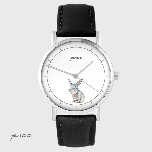 Yenoo watch - Hare - black, leather