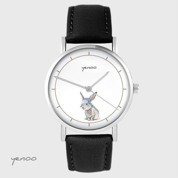 Zegarek yenoo - Zając - czarny, skórzany