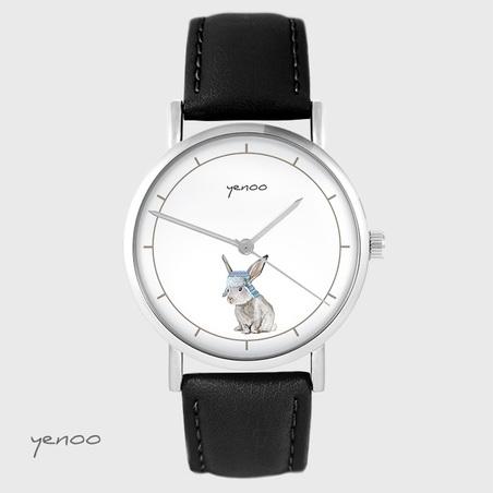 Yenoo watch - Hare - black, leather
