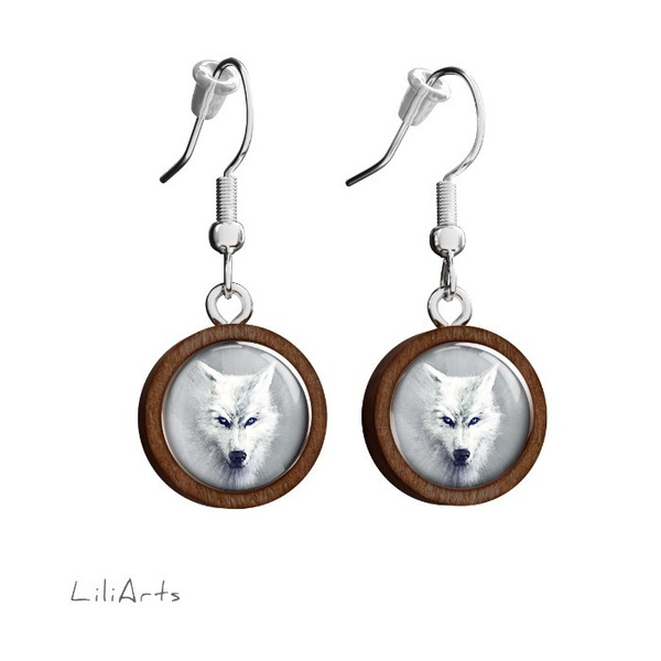 Wooden earrings LiliArts - White wolf - hanging