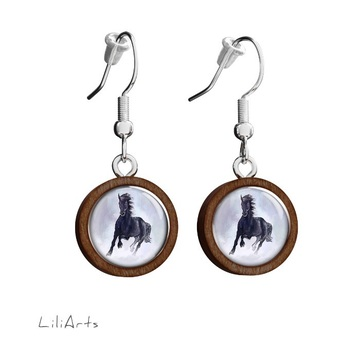 Wooden earrings LiliArts - Black running horse - hanging