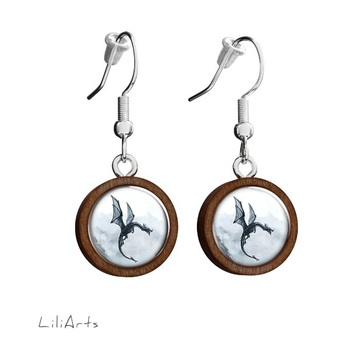 Wooden earrings LiliArts - Black dragon - hanging
