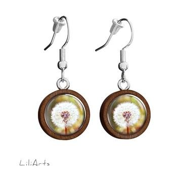 Wooden earrings LiliArts - Dandelion - hanging
