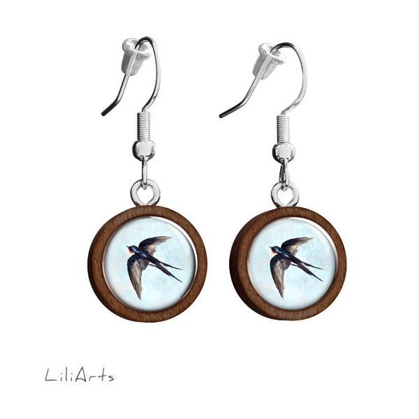 Wooden earrings LiliArts - Swallow - hanging