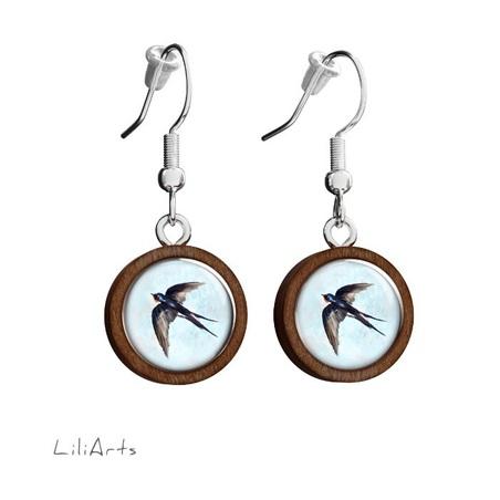 Wooden earrings LiliArts - Swallow - hanging