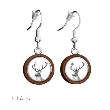 Wooden earrings LiliArts - Deer - Into the wild - hanging