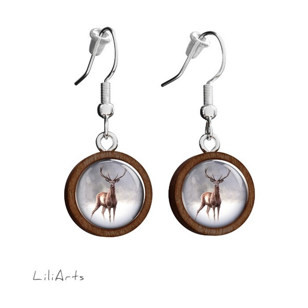Wooden earrings LiliArts - Deer 2 - hanging