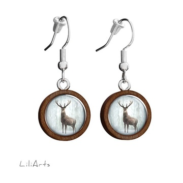 Wooden earrings LiliArts - Deer in winter - hanging
