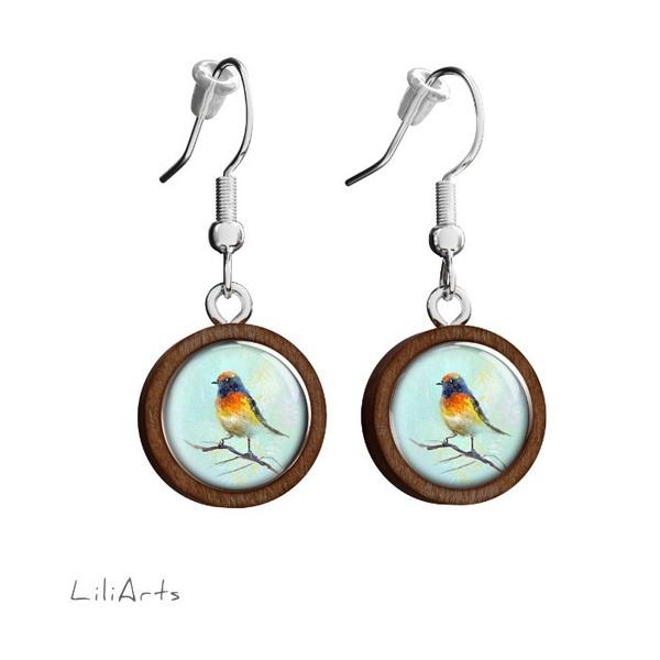 Kolczyki drewniane LiliArts - Kolorowy ptaszek - wiszące