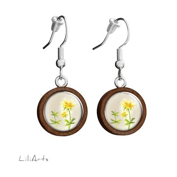 Wooden earrings LiliArts - Flower - hanging